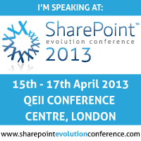 I'm speaking at SharePoint Evolution 2013